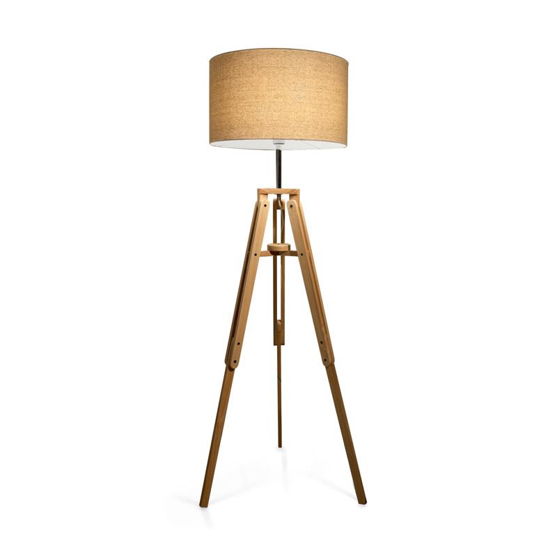 treppiedi lampada in legno