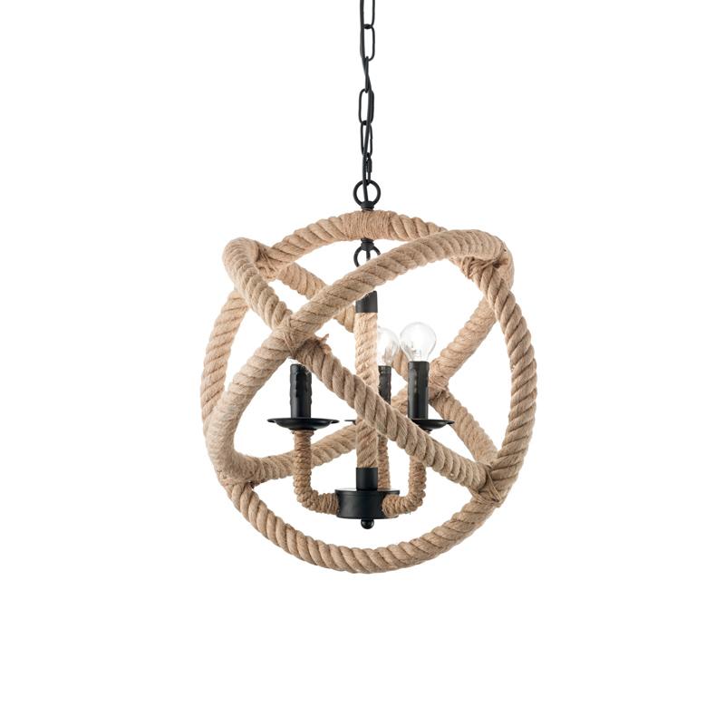 Lampada nature-style in corda di canapa
