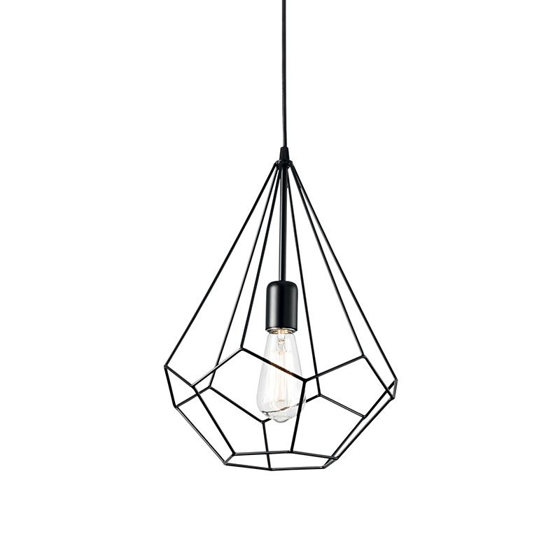 Industrial design lampadario gabbia nero